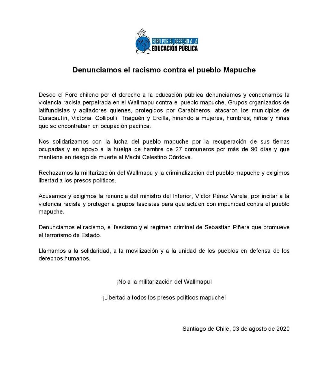 """Declaración FODEP """"Denunciamos el racismo contra el pueblo Mapuche!, 3 de agosto, 2020"""
