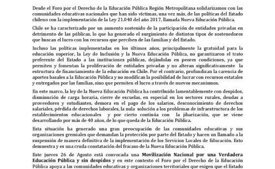 """Fodep RM: Apoyo a movilización nacional """"Por una verdadera Educación Pública y sin despidos"""""""